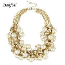Danfosi Fashion Women Maxi Necklaces Gold Color Chain Imitation Pearls Beads Crystal Collar Chokers Chunky Necklaces & Pendants(China)