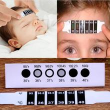 2017 New High Quality 10pcs Forehead Head Strip Thermometer Fever Body Baby Child Kid Test Temperature For Wholesale(China)