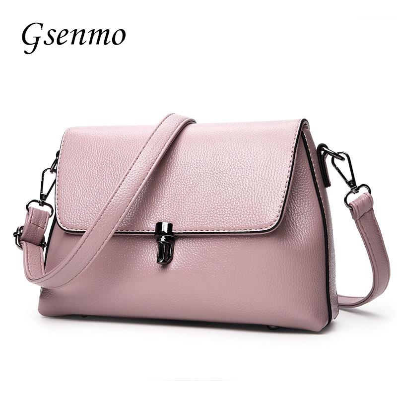 Gsenmo 2017 Summer Fashion Luxury Handbags Women Bags Designer Litchi Pattern Flat Shoulder Bag Leather Bags Women Red/Black<br>