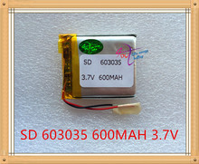 Liter energy battery 3.7V lithium polymer battery 603035 600MAH MP3 MP4 MP5 GPS SD recorder