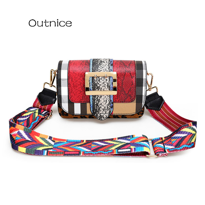 OUTNICE 2017 Hot Small Messenger Bag Wide Color Strap Crossbody Luxury Handbags Women Bags Designer sac a main femme de marque<br><br>Aliexpress