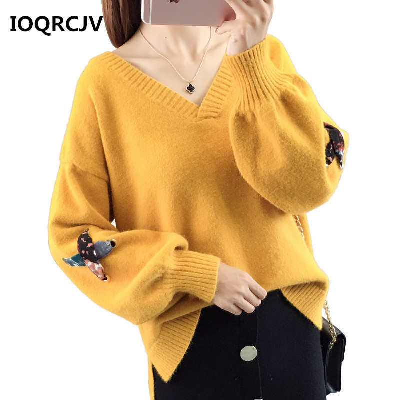 Women Pullover Sweater 2019 Autumn New Solid Knitted Sweater Female V-neck Lantern Sleeve Short Sweater Jumper Women Tops L132