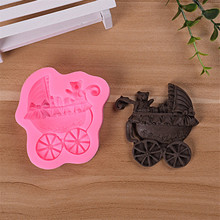 1pc 3D Fondant Cake Decorating Tools DIY Bear Car Chocolate Biscuit Baking Mould Baby Carriage Silicone Cake Mold(China)