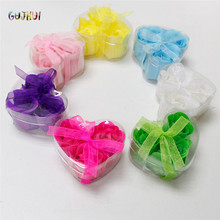 GUJHUI Fashion Scented Flower Bath Body Soaps Rose Petal Soap For Bathing in Heart Box Wedding Favor(China)
