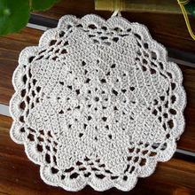 2015 free shipping 6 pic/lot natural cotton crochet lace doilies as cup pads napkin table mat coaster potholder felt place mat
