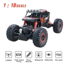 Buy 2.4G 4WD RC Car 1:18 50km/h Scale Remote Control Car Toys Road Vehicle Bigfoot Rock Crawler Climbing Cars 2 motors for $44.99 in AliExpress store