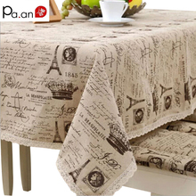 Europe christmas tablecloth rectangular linen cotton table cover crown letter print table cloth fabric party wedding decoration
