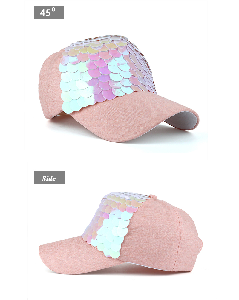 Sequin Snapback Cap - Front Angle and Side Views
