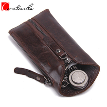 CONTACT'S Vintage Zipper Men Wallet Genuine Cow Leather Car Key Holder Brown Housekeeper High Quality Class Motor Key Case 2017(China)