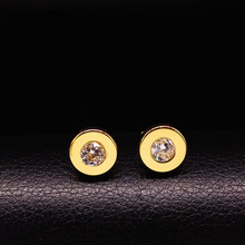 2017 Fashion New Stainless Steel Earrings For Women Men Round Gold Silver Stud Earings Jewelry acero inoxidable 168112