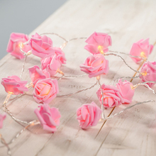 Events and Parties 4M 40Leds Rose LED String Lights Battery Wedding Birthday Decoration Lights Pink Rose LED Guirlande Lumineuse(China)