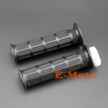 Black Grips Grip Set w/ FREE Throttle Cable Tube Sleeve For Yamaha MX Dirtbike Offroad Off Road