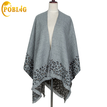 [POBING]ZA Brand Women Winter Scarf Unisex Leopard Cashmere Scarf Thicken Shawls And Wraps Warm Long Pashmina Poncho Blanket