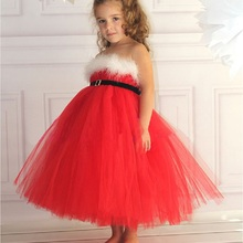 2015 Xmas Flower Toddler Baby Girl Princess Pageant Wedding Party Tutu Dresses 12M-6Y baby girl Christmas red dress