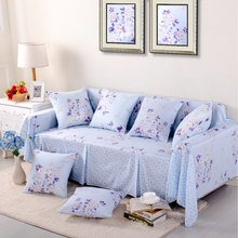SunnyRain 1-Piece Pastoral Blue Flower Sofa Cover Sectional Sofa Covers l Shaped Sofa Slipcover Couch Cover Sofa Protector