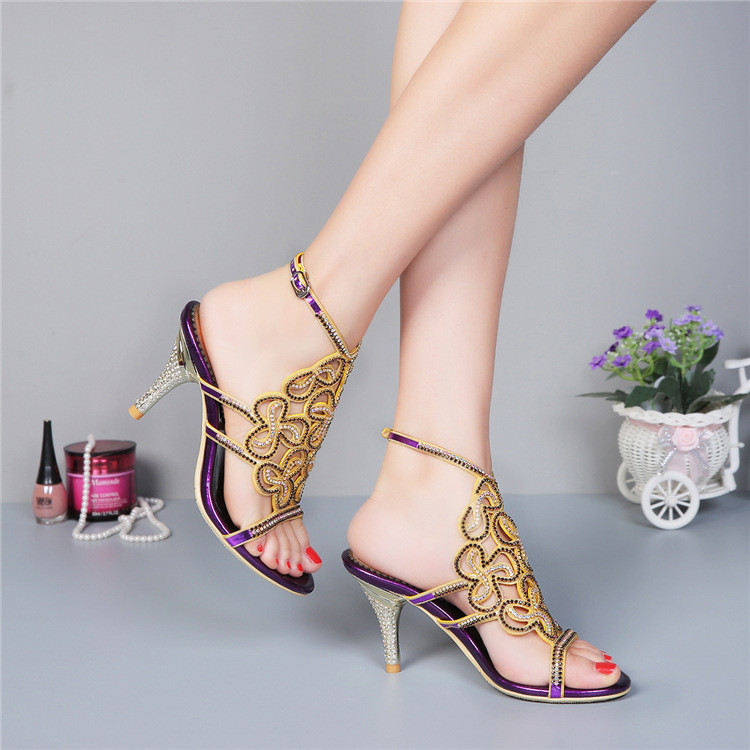 2018 New Leather Diamond High Heels Sandals Luxury Ladies Purple Party Shoes Hot Sale