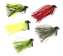 5 Pcs 7g /10g 1/4oz 3/8oz Mixed Colour Lead Skirt Rubber Fishing Jigs Head Buzz Swim Bass Jig Fishing Lures