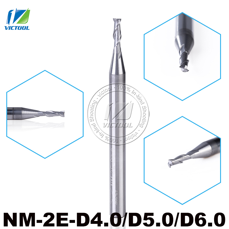 5pcs/LotNM-2E-D4.0/D5.0/D6.0 Solid Carbide 2 Flute Flattened End Mills With Straight Shank Tungsten Milling Cutter Tools<br>