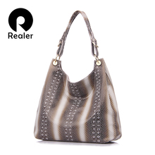 REALER brand new design genuine leather tote bag women fashion beige/black/red/coffee handbag Shoulder Bag With Embossed Handbag(China)