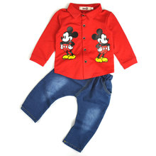 2016 Spring and Autumn New Kids Boy Minnie Mouse Clothing Set Cartoon Long Sleeved Shirt + Jeans Suit Children Boys Clothes Sets