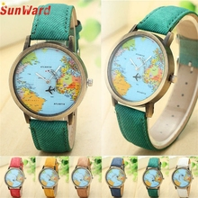 SUNWARD Stylish wholesale relogio feminino watch Fashion Ladies Luxury New Global Travel By Plane Map Watch Denim Fabric Band
