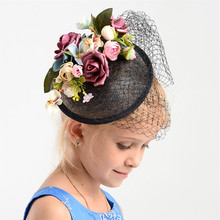 Charm Black Wedding Flower Fascinator Hat Women Linen Hair Ornaments Headpiece Bridal Wedding Floral Fascinator Accessories Gift(China)