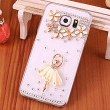 Transparent Diamond Cell Phone Case Cover For Samsung Galaxy S6,Luxury Crystal Ballet Girl Style Smart Phone Case For Samsung S6