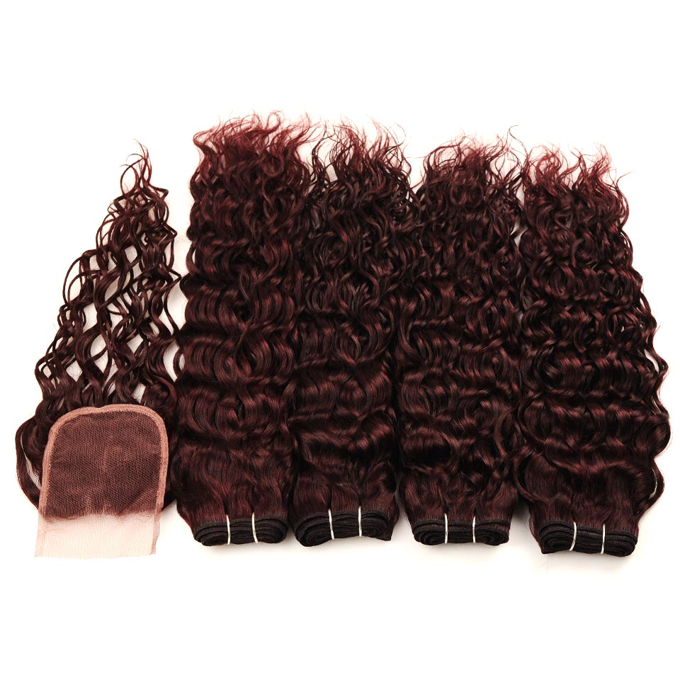 Brazilian Water Wave Hair Burgundy 4 Bundles With Closure Wet Wavy Pinshair Pre-Colored Dark Red Human Hair With Closure NonRemy (82)
