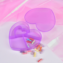 5 grids Medicine pill box transparent plastic heart love shape jewelry box Beaded style hair elastic Box Kit gift(China)