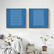 HAOCHU Minimalist Sky Blue And White Base Geometric wild goose Water ripple Canvas Painting Wall Poster Prints For Home Decor