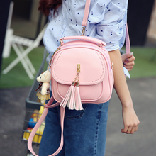 JOYPESSIE Tassel Shoulder Bag Girls PU Leather Small Backpack Women Back Pack Bag Teenage Student School Travel Bagpack