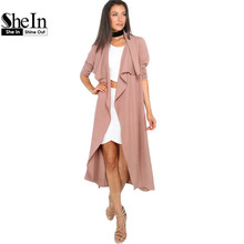SheIn Autumn Womens New Fashion Coffee Lapel Long Sleeve Trench Coat Ladies Open Front Tie Waist Casual Long Outerwear Coats