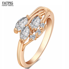 Love Drop Sweet Design Italy Zircon Gold Color White Crystal Jewelry High Quality Rings for Lady Women Gift Elegant Jewelry(China)