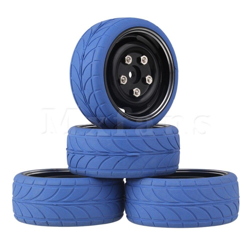 Mxfans 4 x RC1:10 On Road Car Blue Arrow Rubber Tyre + Black Alloy Wheel Rim w/Screws<br><br>Aliexpress
