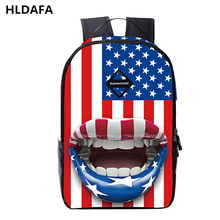 2017new brand men casual backpack trend USA England  Flag printing Polyester teen travel waterproof student boy bag high quality