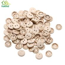 100pcs/lot Handmade wHandmade with love Buttons Scrapbooking Sewing Button Natural Wood 15mm Arts,Crafts & Sewing Tool