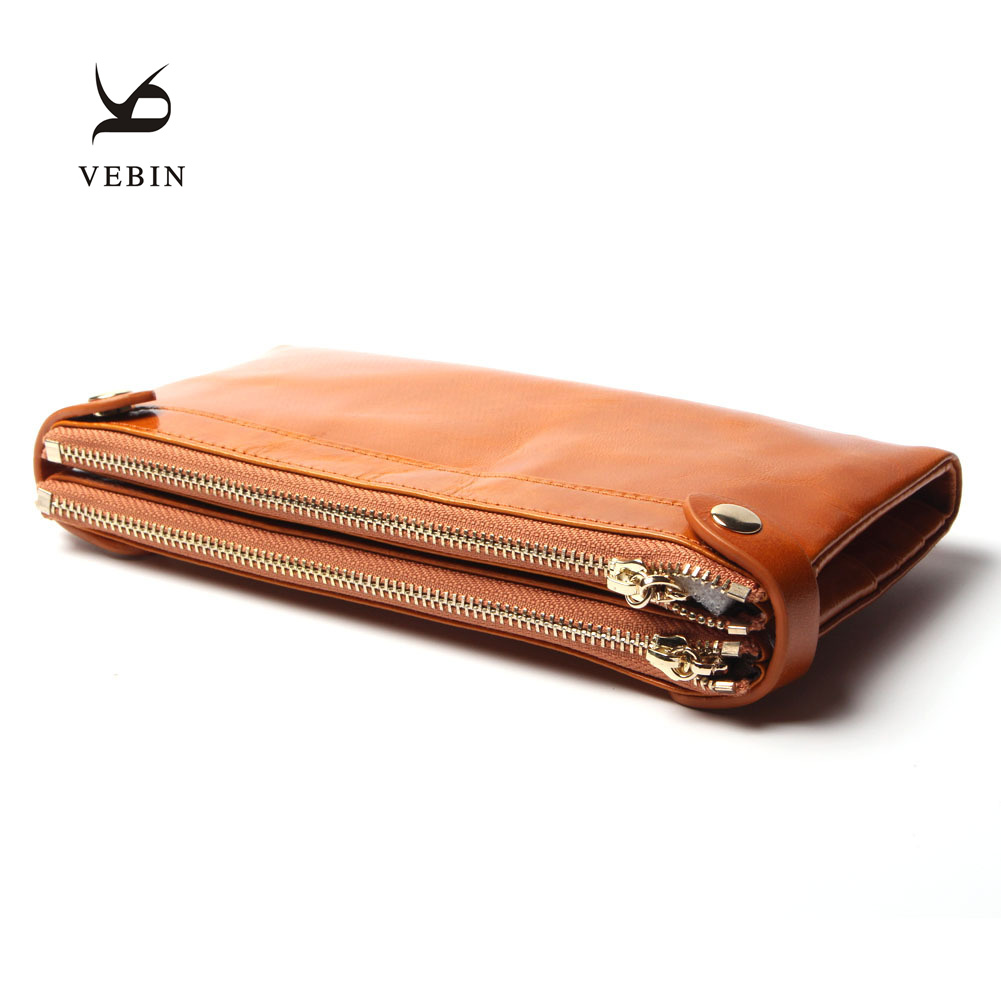 Famous Brand Vebin Fashion Womens Long Wallets Double Zipper High Capacity Genuine Leather Purse 2 Folds Free Shipping <br><br>Aliexpress