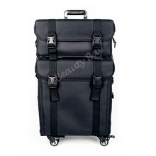 2in1 Nylon makeup trolley case with 4pcs rolling wheels, cosmetic train case with drawers and shoulder tape.