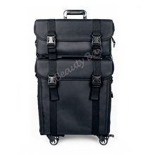 2in1 Nylon makeup trolley case with 4pcs rolling wheels, cosmetic train case with drawers and shoulder tape.(China)