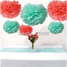 12PCS Mixed Coral Mint Party Tissue Pom Poms Wedding Flowers Birthday Christmas Party Paper Hanging Decoration