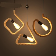 Retro industry Pendant lights retro rope creative garden restaurant bar farmhouse decorative lamp character study pendant lamps