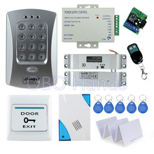 Free shipping full set door access control system kit V2000-C+ electric drop bolt lock+power supply+exit button+remote control(China)