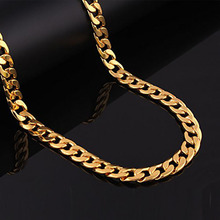 2017 Long Mens Jewelry Long  Solid Gold Color Cuban Curb Chain Link Necklace For Man 24 Inch 60cm Heavy Thick Boy Cool Party