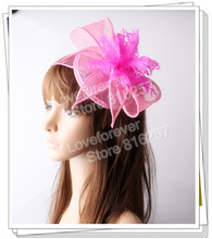 Free shipping Pink sinamay  hats feather flower fascinators for party hats bridal hair accessories  cocktail hats OF153513