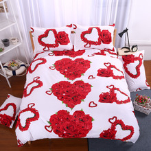 Bedding Set 3d Bed Set Rose Lilies Ring Pattern Piano floral red Bedclothes Duvet Cover Sheet Queen King Twin Size Bed Linen