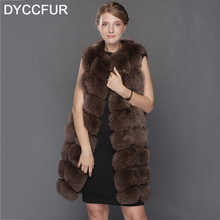 DYCCFUR 2017 Real Fox Fur Vest Female Winter Autumn Genuine Leather Fox Fur Coat Lady Natural Fur Vest Winter For women(China)