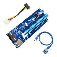 60CM PCI-E 1X To 16X PCI Express Riser Card For Miner Machine Overcurrent Protection USB Cable SATA To 4 Pin Power Cord EM88