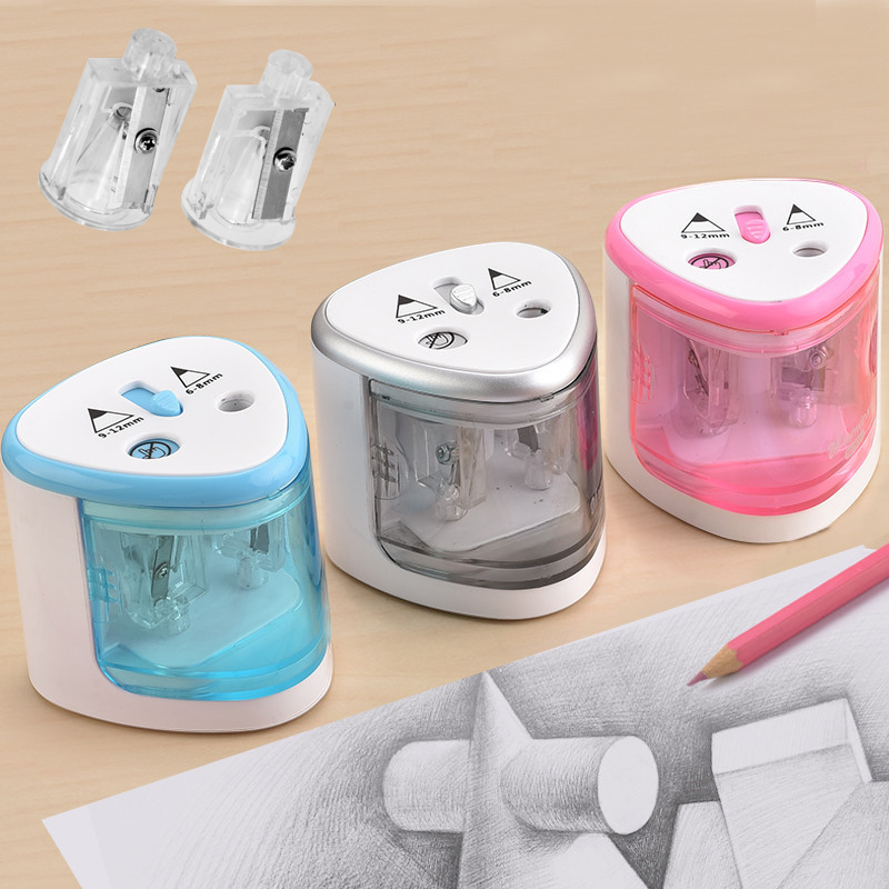 Electric Two Holes Pencil Sharpener Desktop Student Automatic Pencil Sharpeners for Art Painting Stationery Supplies(China)