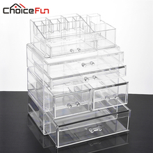 CHOICE FUN Large Makeup Organizer Multifunction Storage Box Acrylic Cosmetic Organizer Box 4 Drawers Makeup Storage SF-20142-251(China)