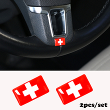 2pcs/set Steering wheel 3D Epoxy Car Styling fit for Hyundai Corsa Car Sticker Switzerland Portugal UK Russia  National Emblem